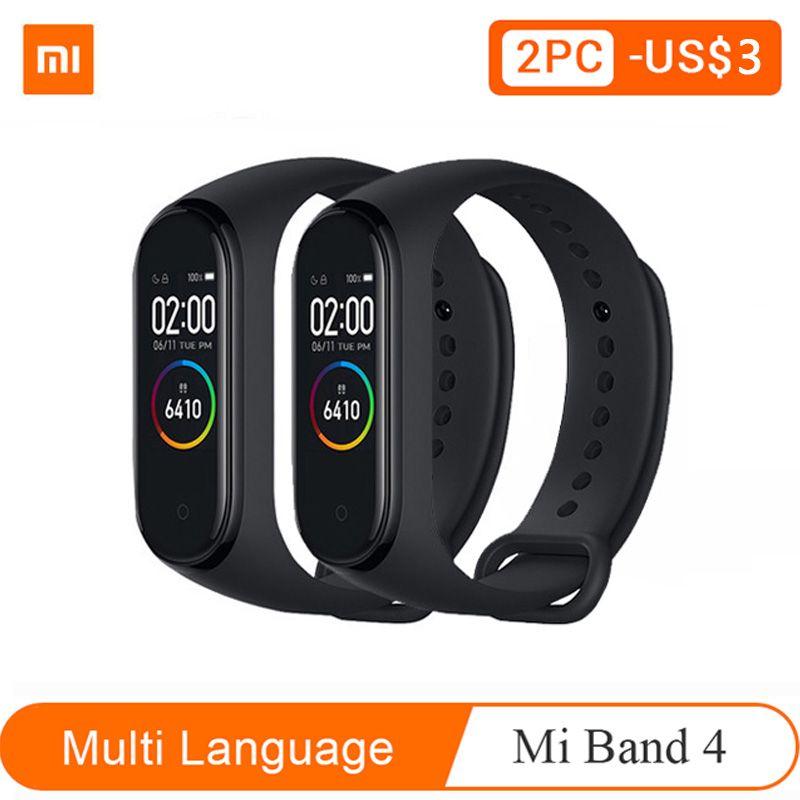 Xiao mi bande 3 4 version mondiale Bracelet intelligent de remise en forme Bracelet de montre 3 grand écran tactile Message fréquence cardiaque temps Smartband