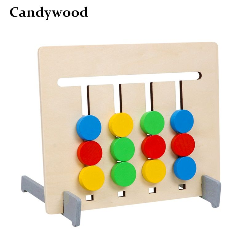 Double-sided Color and Fruit Pairing Game Children Wooden Toys Logical Reasoning Training Kids Educational Toys Montessori