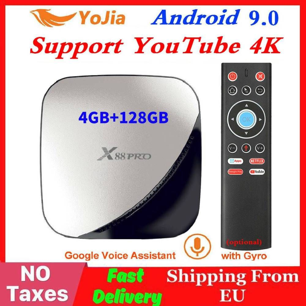 X88 pro Smart 4K Android 9.0 TV Box 4GB RAM Max 128GB ROM 64GB RK3318 4Core 5G Dual Wifi 2G16G Set Top Box YouTube Media Player