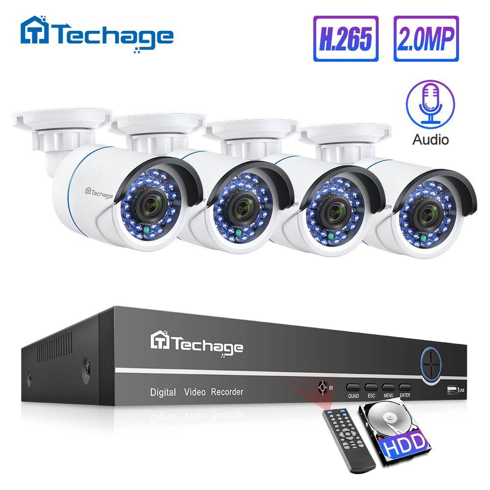H.265 8CH 1080P POE NVR Kit CCTV System Bis Zu 16CH NVR 2MP Audio IP Kamera IR Outdoor P2P onvif Video Sicherheit Überwachung Set