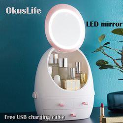 USB recargable organizador de maquillaje caja de almacenamiento de cosméticos contenedor de joyería portátil a prueba de polvo cajón impermeable espejo luz LED