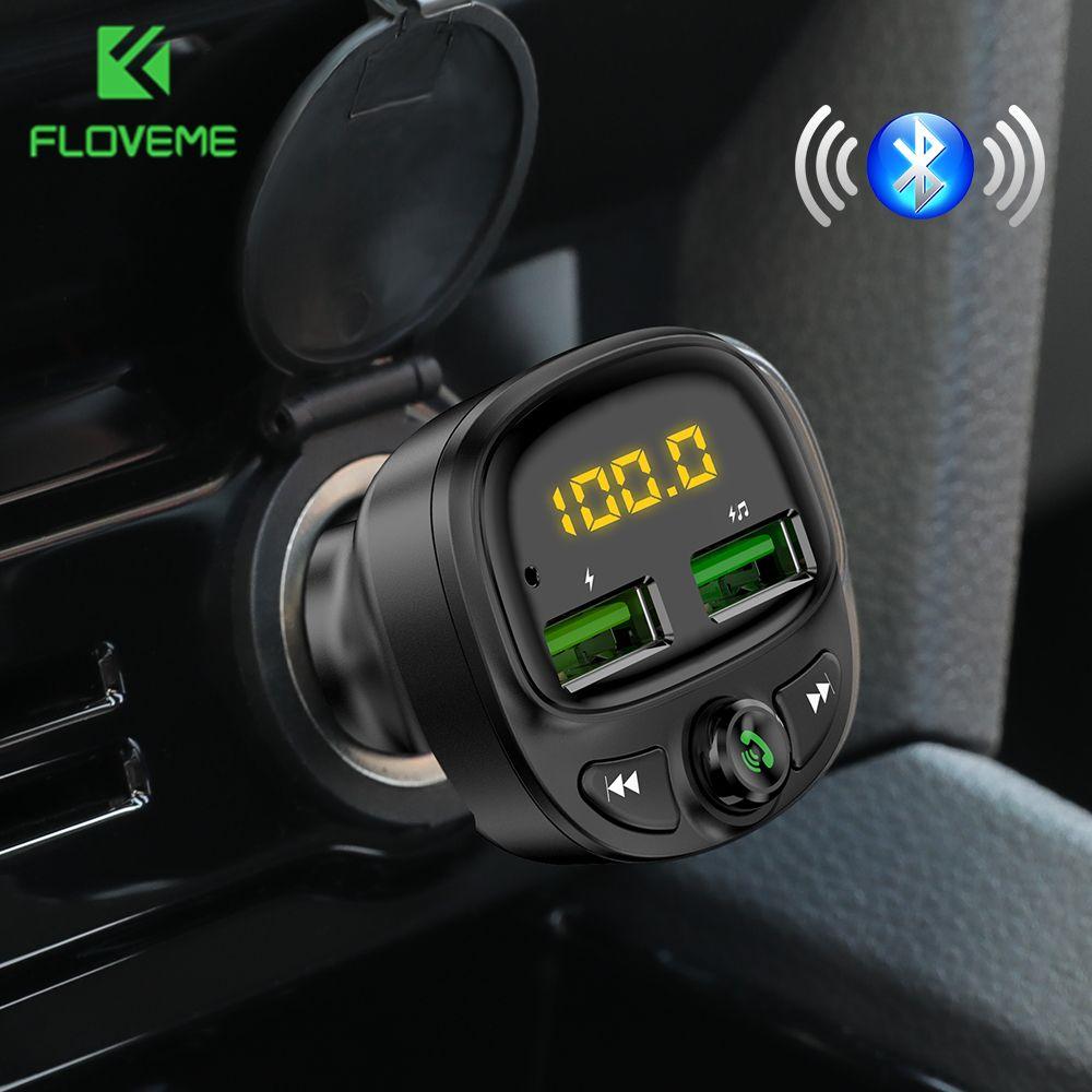 FLOVEME chargeur de voiture Bluetooth double USB chargeur de téléphone de voiture Mobile transmetteur Fm mains libres charge rapide MP3 TF carte musique voiture Kit
