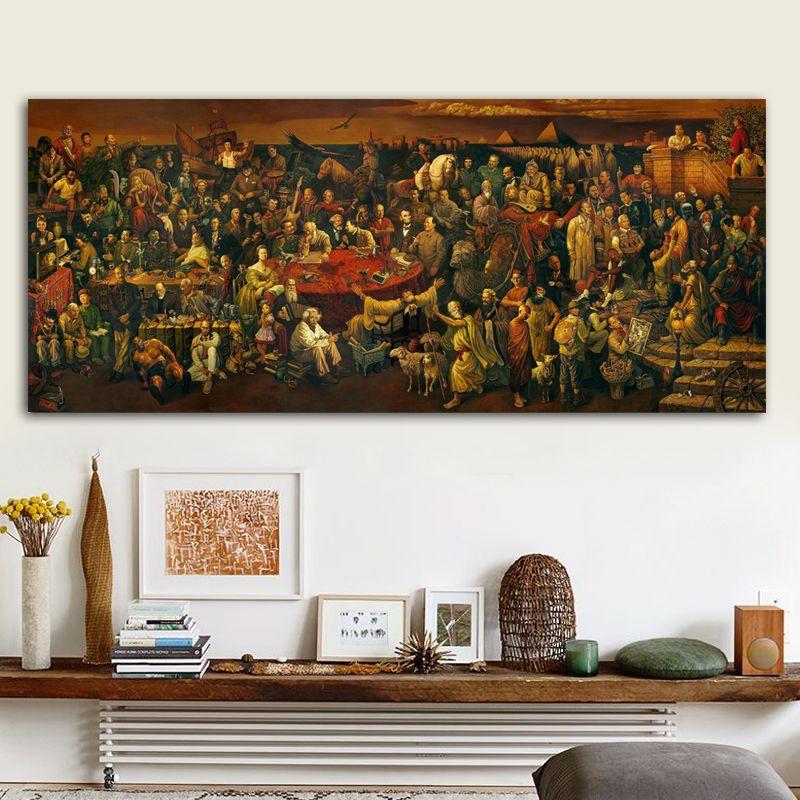 RELIABLI ART célèbre œuvre toile peinture discutant Divine comédie avec Dante mur Art photos imprimer affiches pour salon