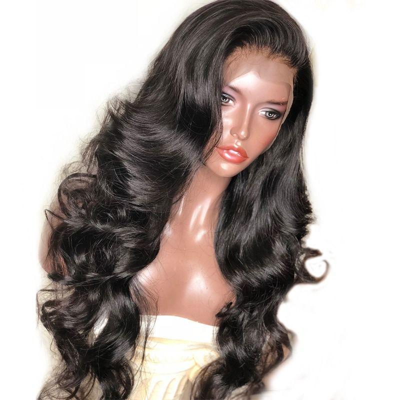 250 densité dentelle avant perruques de cheveux humains pour les femmes vague de corps noir 13x6 dentelle avant perruque brésilienne perruque pré plumée Remy