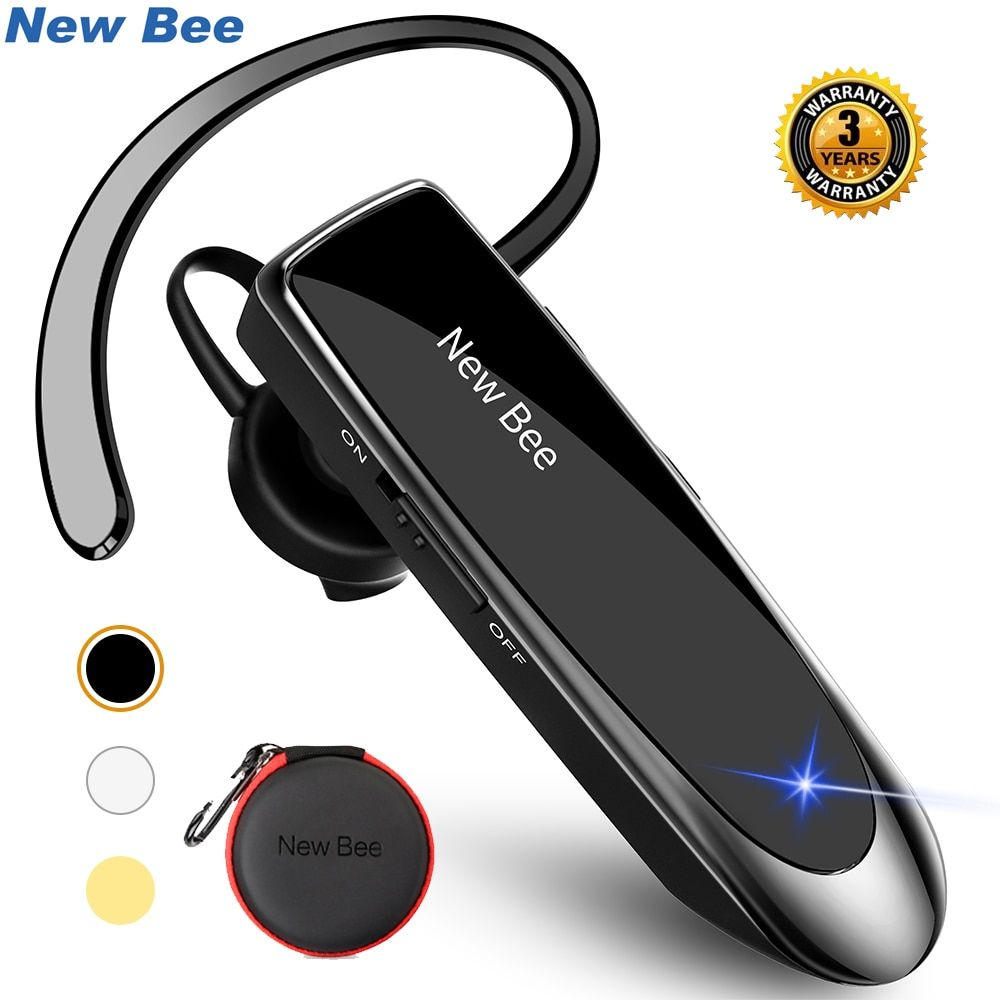 New Bee Bluetooth Headset Bluetooth 5.0 Earpiece Hands-free Headphone Mini Wireless Earphone Earbud Earpiece For iPhone xiaomi