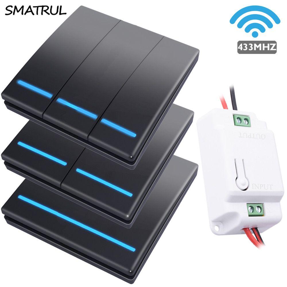 SMATRUL 1/2/3 gang 433Mhz smart push sans fil interrupteur lumière RF télécommande 110V 220V récepteur mur panneau bouton plafonnier
