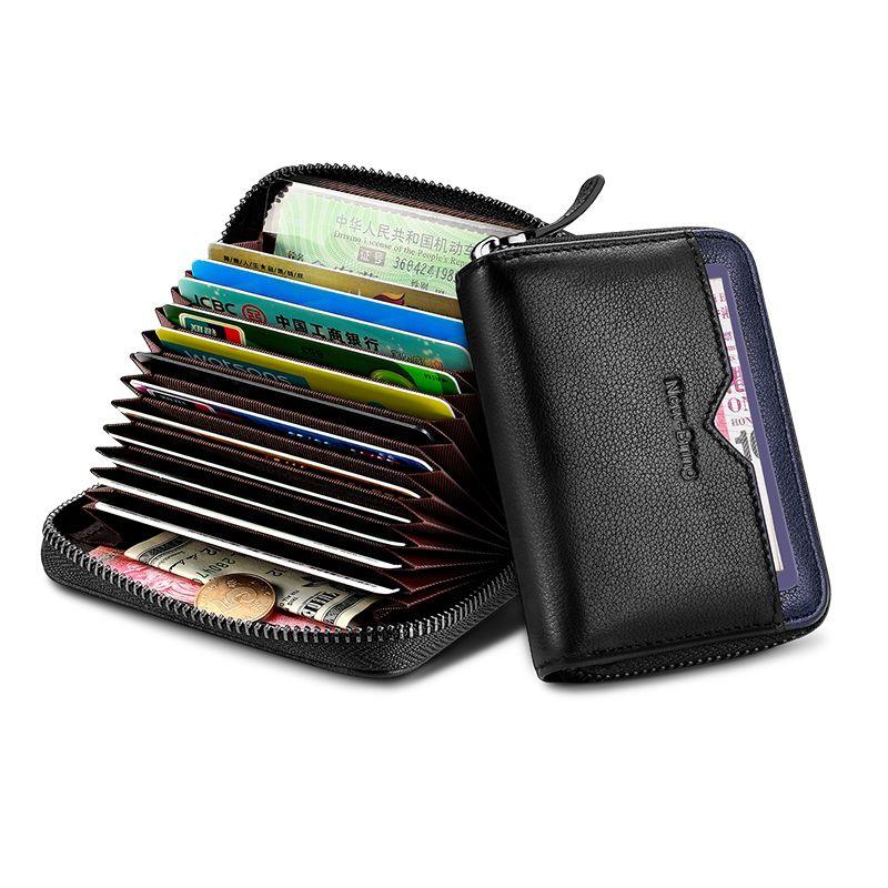 NewBring fonction en cuir véritable NFC bloquant 12 30 Bits porte-carte d'affaires unisexe fermeture à glissière banque/ID/carte de crédit portefeuille femmes hommes