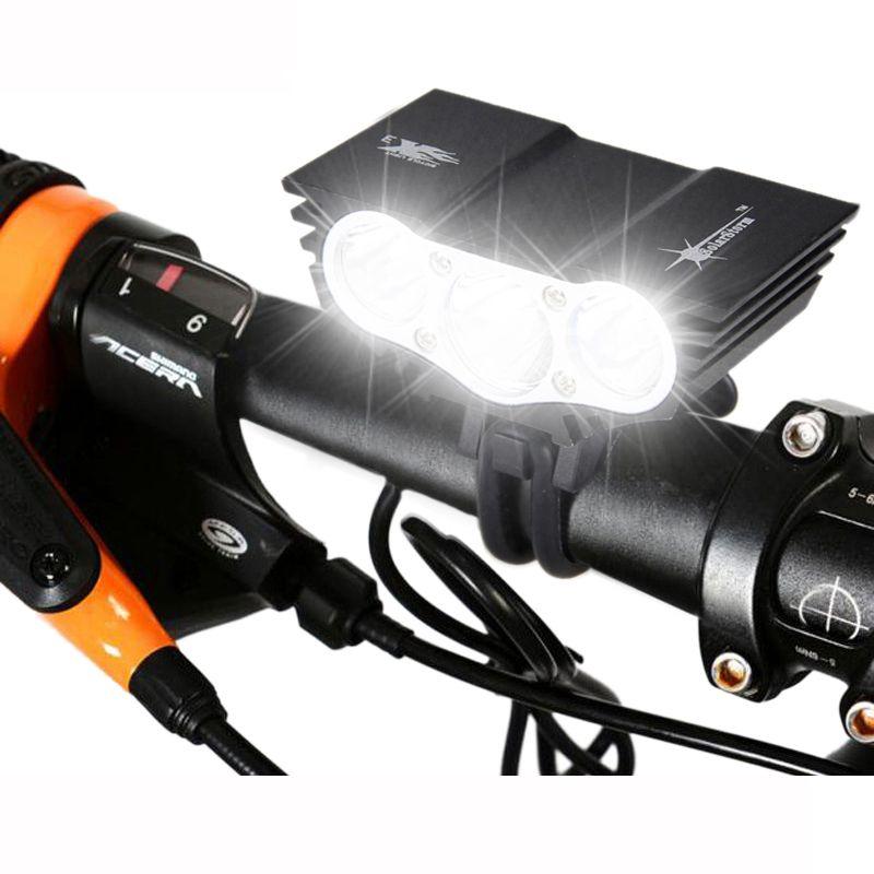 Lampe de vélo étanche 3xT6 LED phare de vélo avant 4 Modes lampe de cyclisme de nuit de sécurité + batterie Rechargeable + chargeur