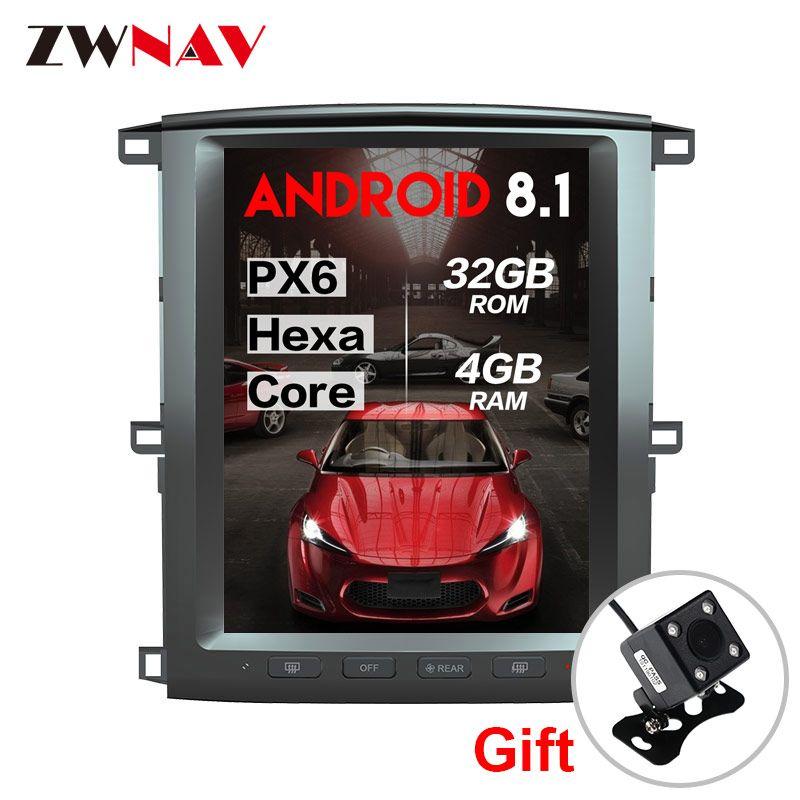 PX6 4 + 64 Tesla stil Android 8.1 Auto dvd Multimedia Player einheit für Toyota land cruiser lc100 2002-2007 GPS Navigation Autoradio