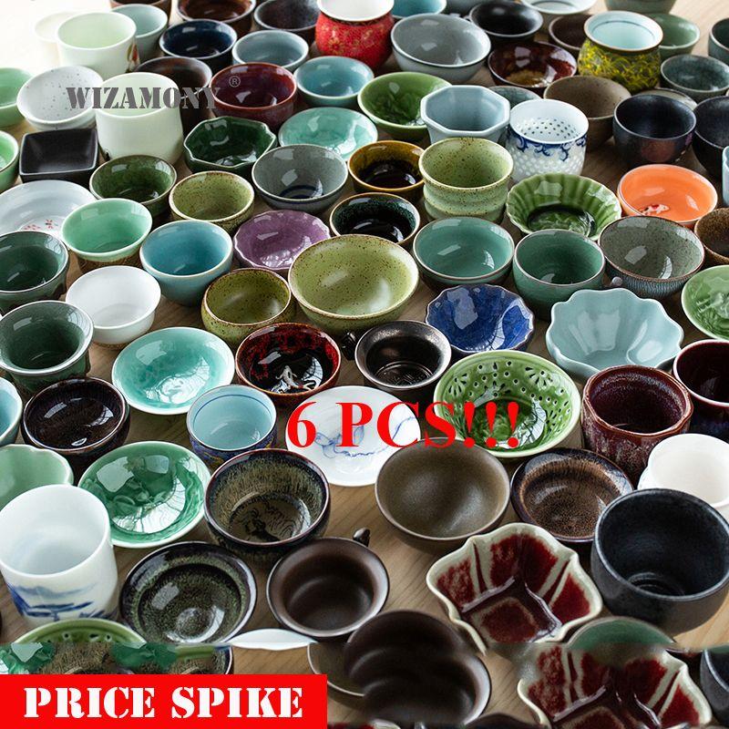 6 pièces!! WIZAMONY Jingdezhen Drinkware théière aléatoire théière thé tasse thé set bol en céramique kung fu tasses porcelaine chinoise céladon
