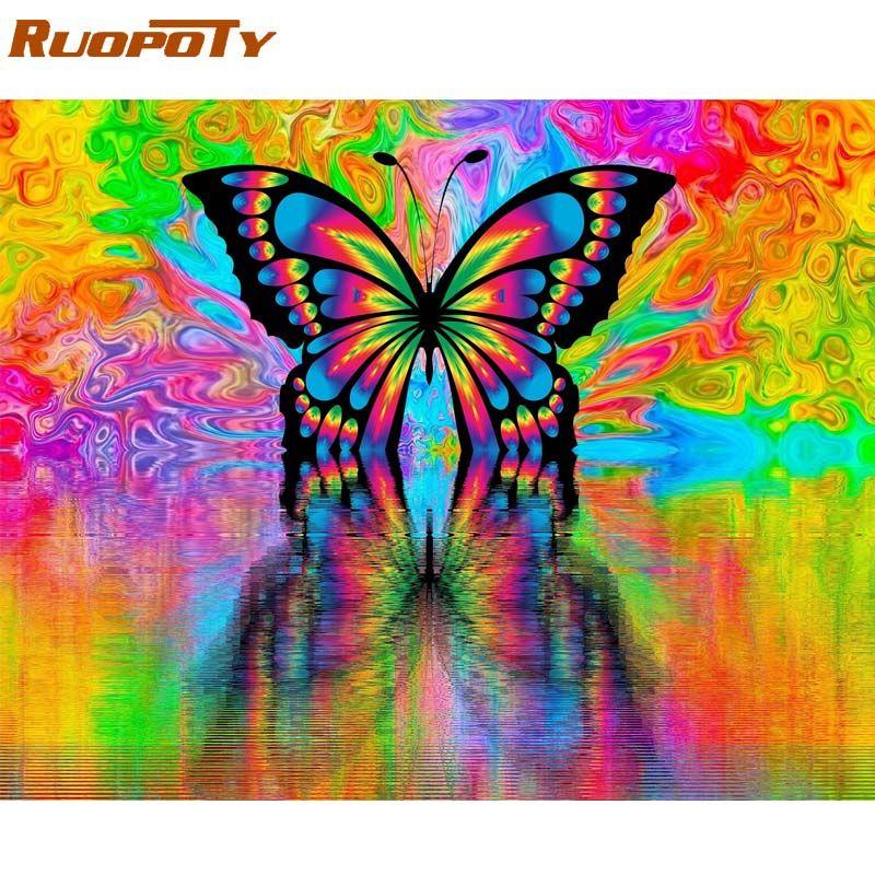 RUOPOTY Cadre peinture à la main Par Numéros Papillon Animaux Moderne Art Mural Peinture Sur Toile Acrylique Peinture Par Numéros Pour Les Décors À La Maison