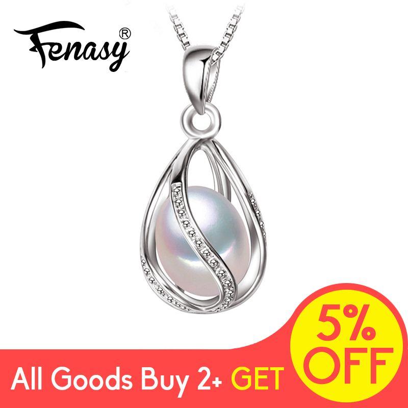 FENASY naturel perle d'eau douce pendentif Cage collier mode 925 argent Sterling Boho déclaration collier perle bijoux