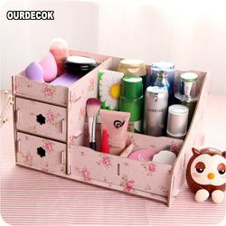 Kayu Kotak Perhiasan Wadah Penyimpanan Makeup Organizer Case Handmade DIY Perakitan Organizer Kosmetik Kotak Kayu untuk Kantor H