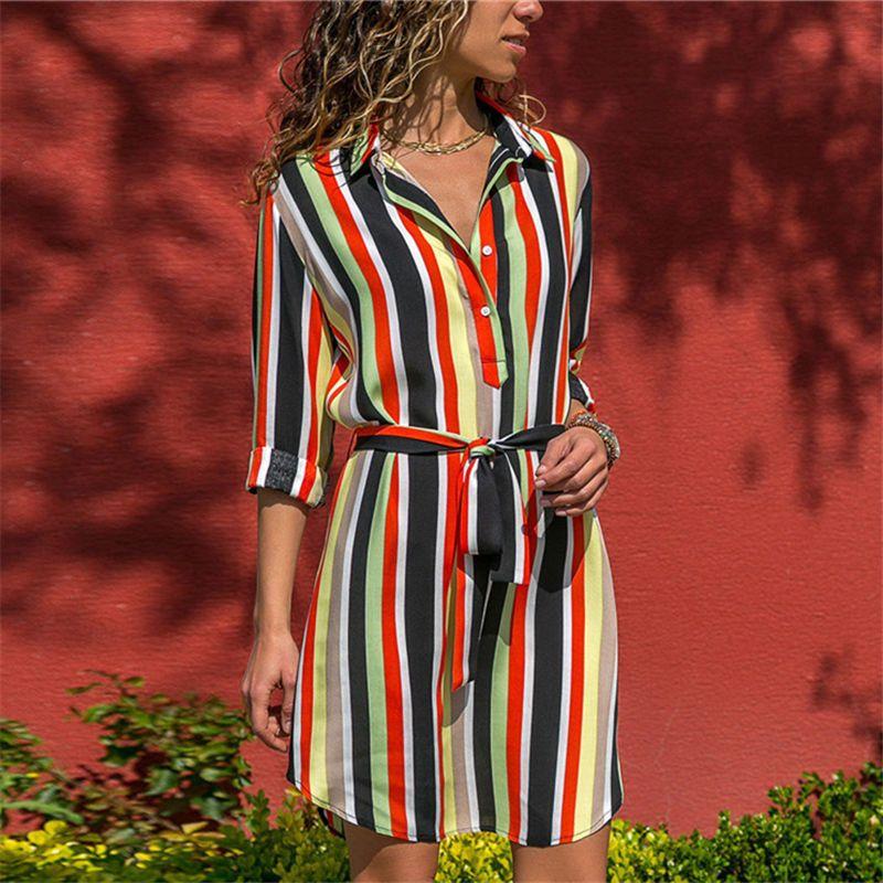 Robe chemise à manches longues 2019 été mousseline de soie Boho robes de plage décontracté rayé imprimé une ligne Mini robe de soirée Vestidos