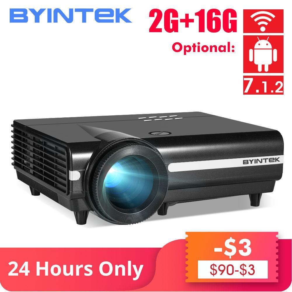 BYINTEK MOON BT96Plus Android Wifi Smart Video LED Projektor Proyector Für Heimkino Full HD 1080P Unterstützung 4K online Video