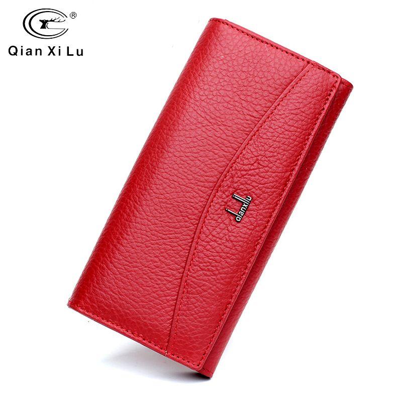 Qianxilu marque portefeuille en cuir véritable pour les femmes, haute qualité porte-monnaie femme 2017