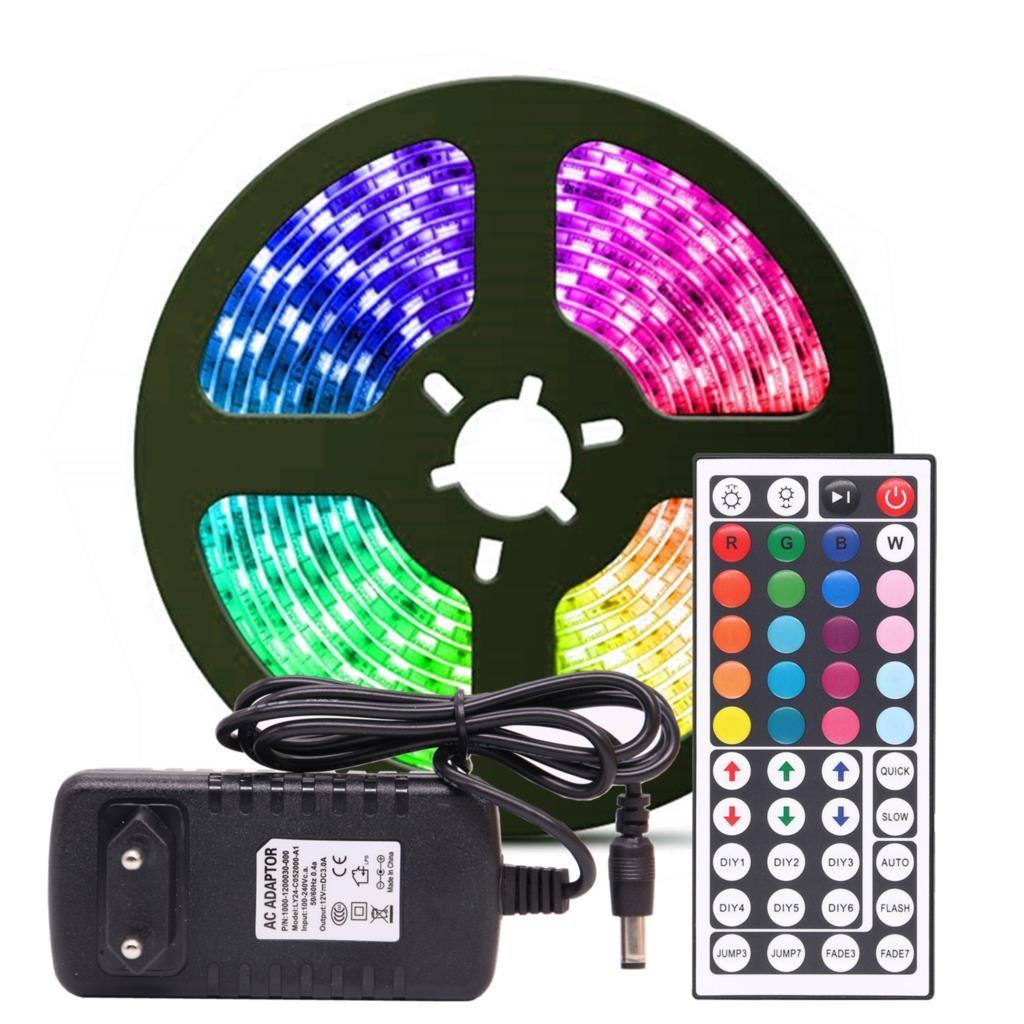 RGB LED bande lumière RGB 5050 SMD 2835 ruban Flexible fita bande de lumière LED RGB 5M 10M bande Diode DC 12V adaptateur de télécommande