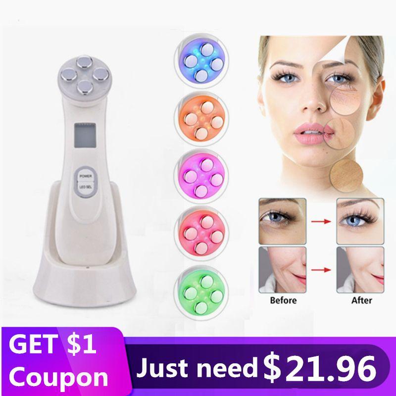 Drop ship 5 in 1 RF Radio Frequency LED Photon Moisturize Acne Blackhead Removal Skin Rejuvenation Skin Tighten Face Care Tool