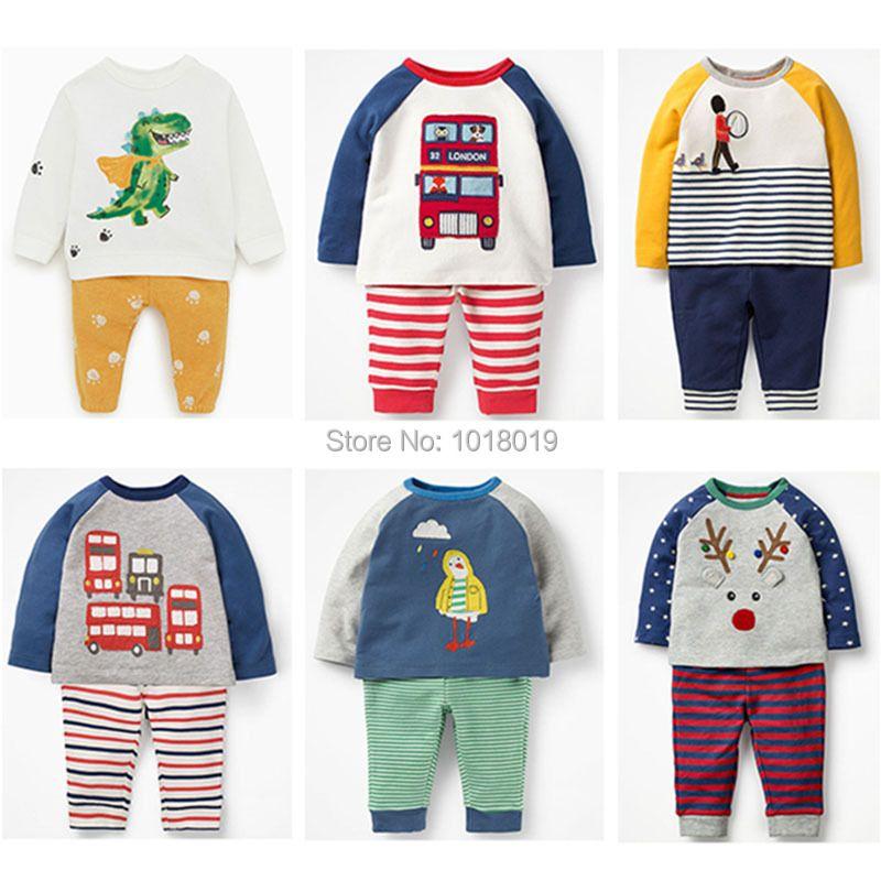 Bébé garçon vêtements ensembles enfants 100% coton à manches longues T-shirt pantalon 2pc enfants costumes tout nouveau 2019 Bebe garçons t-shirts tenue Outwear