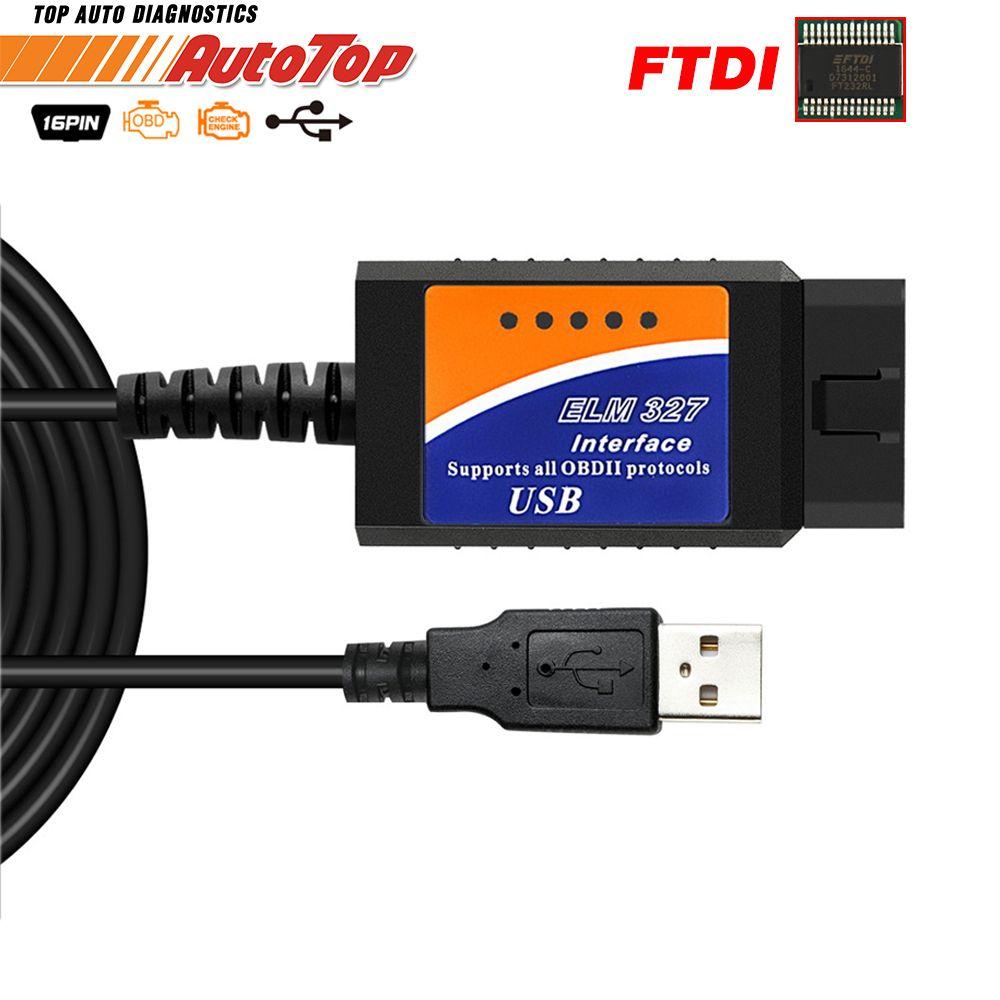 ELM327 USB OBD2 FTDI FT232RL puce OBD 2 Scanner automobile pour PC EML 327 V1.5 ODB2 Interface outil de Diagnostic ELM 327 USB V 1.5