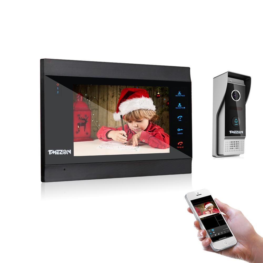 TMEZON 7 Pouces Sans Fil WiFi IP Intelligente Interphone Vidéo Système de Porte avec 1x1200TVL Filaire Sonnette Caméra, déverrouillage À Distance