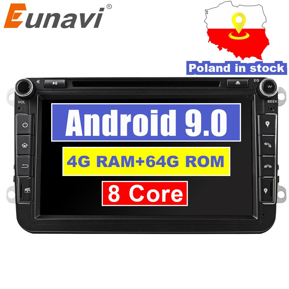 Eunavi 2din Android 9.0 Octa Core 4GB 64GB DVD de voiture pour VW Passat CC Polo GOLF 5 6 Touran EOS T5 Sharan Jetta Tiguan GPS Radio bt