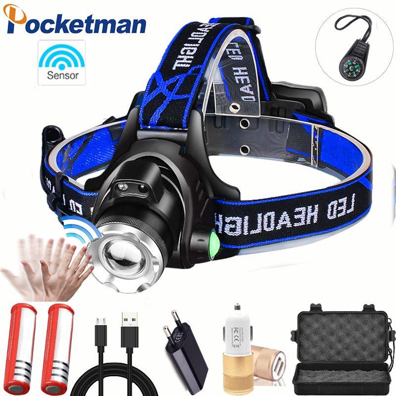 80000 Lumens LED headlamp fishing headlight T6/L2/V6 3 modes Zoomable lamp Waterproof Head Torch flashlight Head lamp 18650