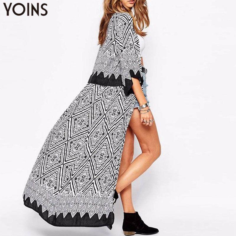 Boho YOINS automne 2019 nouveauté femmes Blouses hauts lâche demi manches imprimer Long Kimono Cardigan Blusas plage mince vêtements d'extérieur