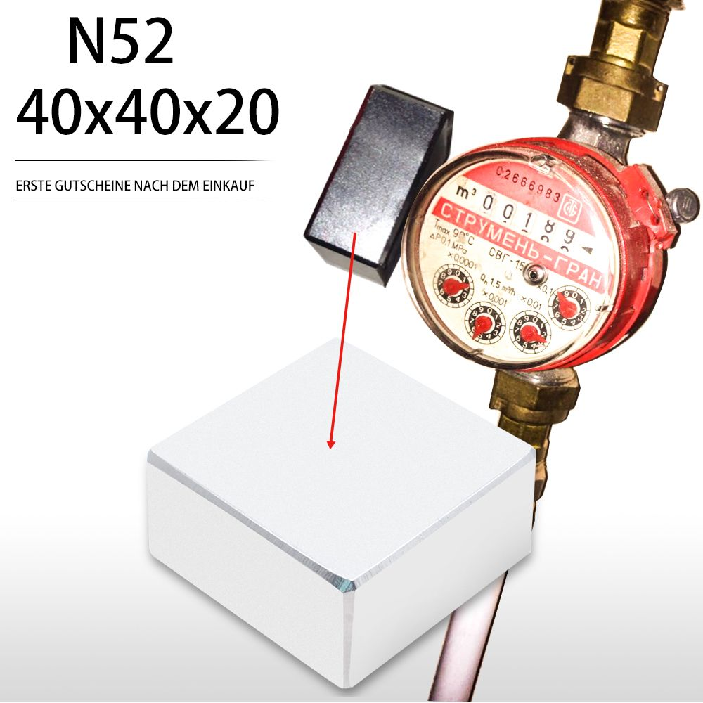 N52 1pcs Block 40x40x20mm Super Strong Rare Earth magnets Neodymium Magnet