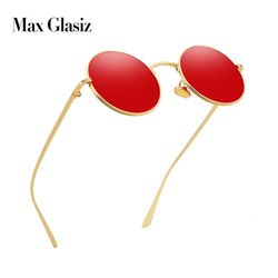 Max glasiz Vintage Sunglasses Women Retro Round Glasses Yellow Lense Metal Frame Glasses Coating Eyewear gafas de sol mujer