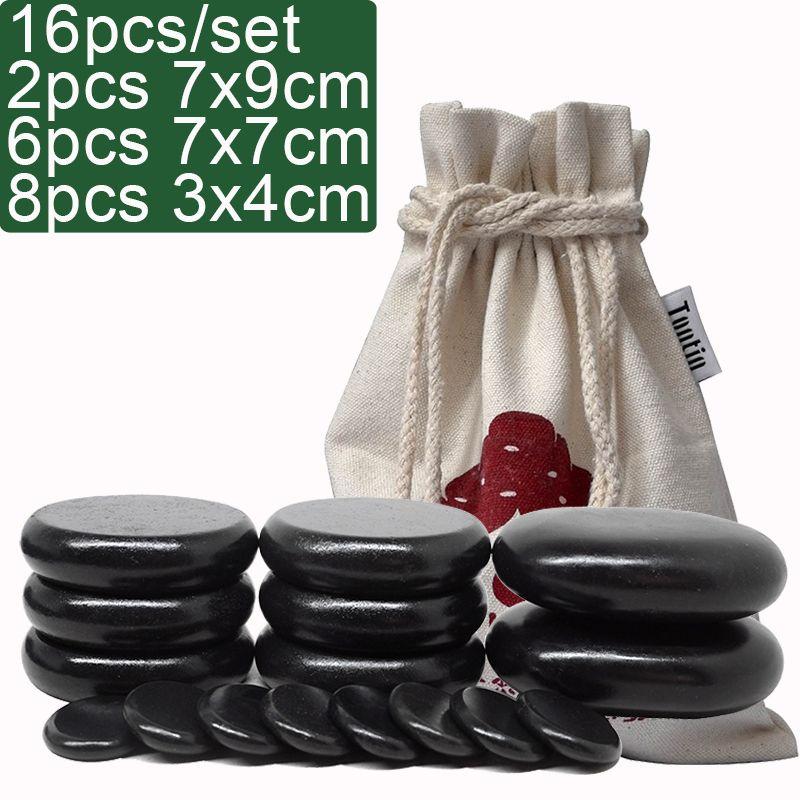 TONTIN Massage chaud énergie corps pierre ensemble Salon SPA avec sac en toile épaisse soins de santé soulager le Stress mal de dos