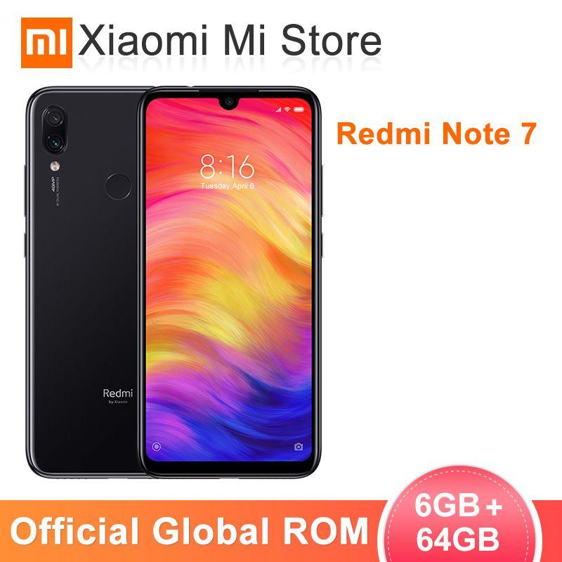 ROM globale Xiaomi Redmi Note 7 6 go de RAM 64 go ROM téléphone mobile Snapdragon 660 Octa Core 6.3 19.5: 9 plein écran 48MP caméra arrière
