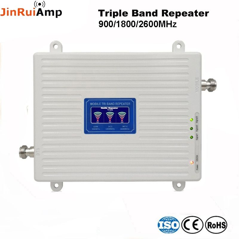 Stimme + 2G 3G 4G Daten Tri Band Signal Repeater GSM 900 DCS 1800 FDD LTE 2600 cellular Signal Booster Mobile Verstärker mit LCD