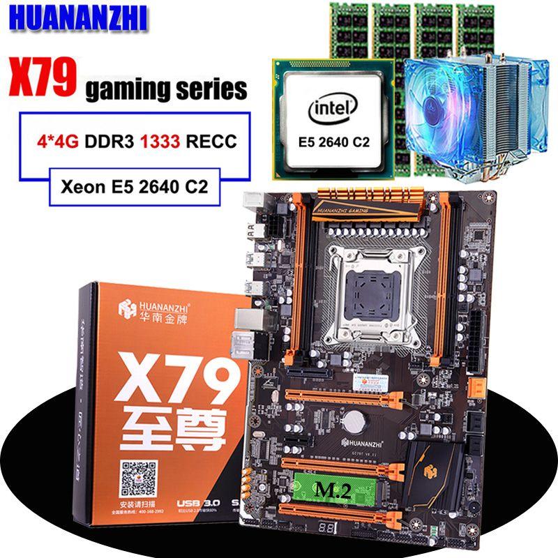 Rabatt motherboard HUANANZHI deluxe X79 LGA2011 motherboard mit M.2 slot CPU Xeon E5 2640 C2 mit kühler RAM 16G (4*4G) RECC