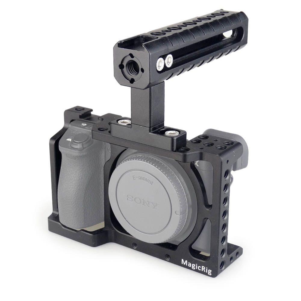 MAGICRIG DSLR Kamera Käfig mit Top Griff für Sony A6400/A6000/A6300/A6500 zu Montieren Mikrofon Monitor LED Licht