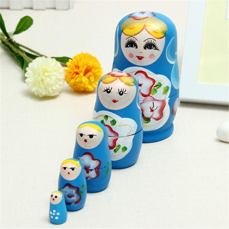 5 teile/satz Schöne Holz Russian Matryoshka Holz Puppen Nesting Babuschka Hand Malen für Kinder Weihnachten Geschenke