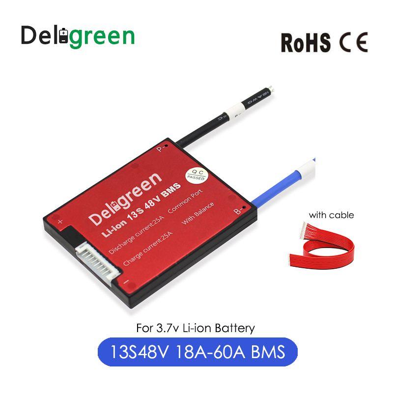 Deligreen 13S Li-ion BMS18A 25A 35A 45A 60A 48V PCB/BMS pour batterie au lithium 3.7V pack 18650 Lithion LiNCM li-polymère Scooter