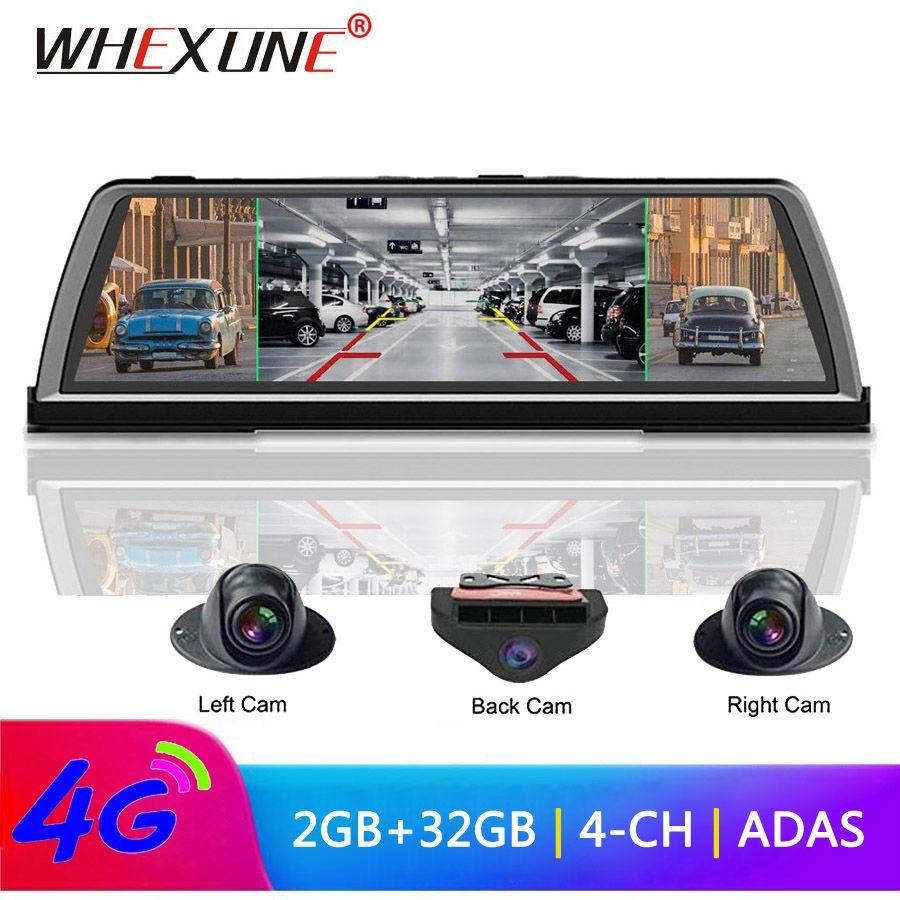 WHEXUNE 4G Android Auto DVR Dash cam 4 Objektiv 10 zoll Navigation ADAS GPS WiFi Volle HD 1080P video Recorder 2GB + 32GB Fahrzeug Kamera