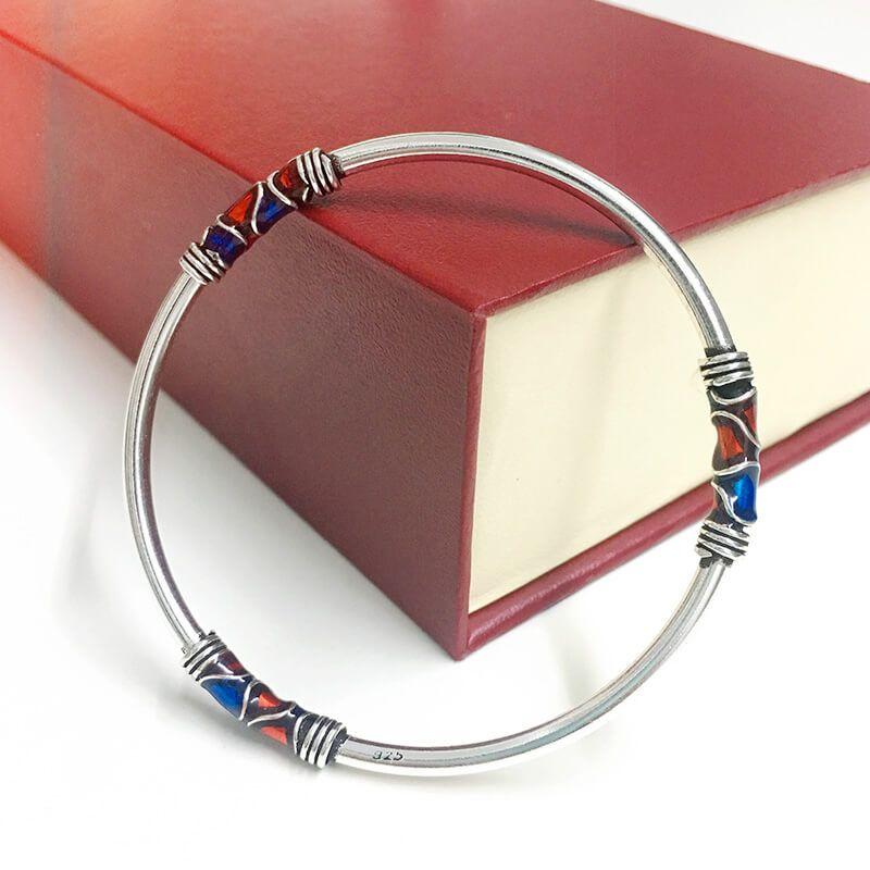 Fyla Mode Bracelet en émail cloisonné 100% Bracelet en argent Sterling 925 Bracelet pour hommes femmes bijoux en argent thaïlandais PKY296