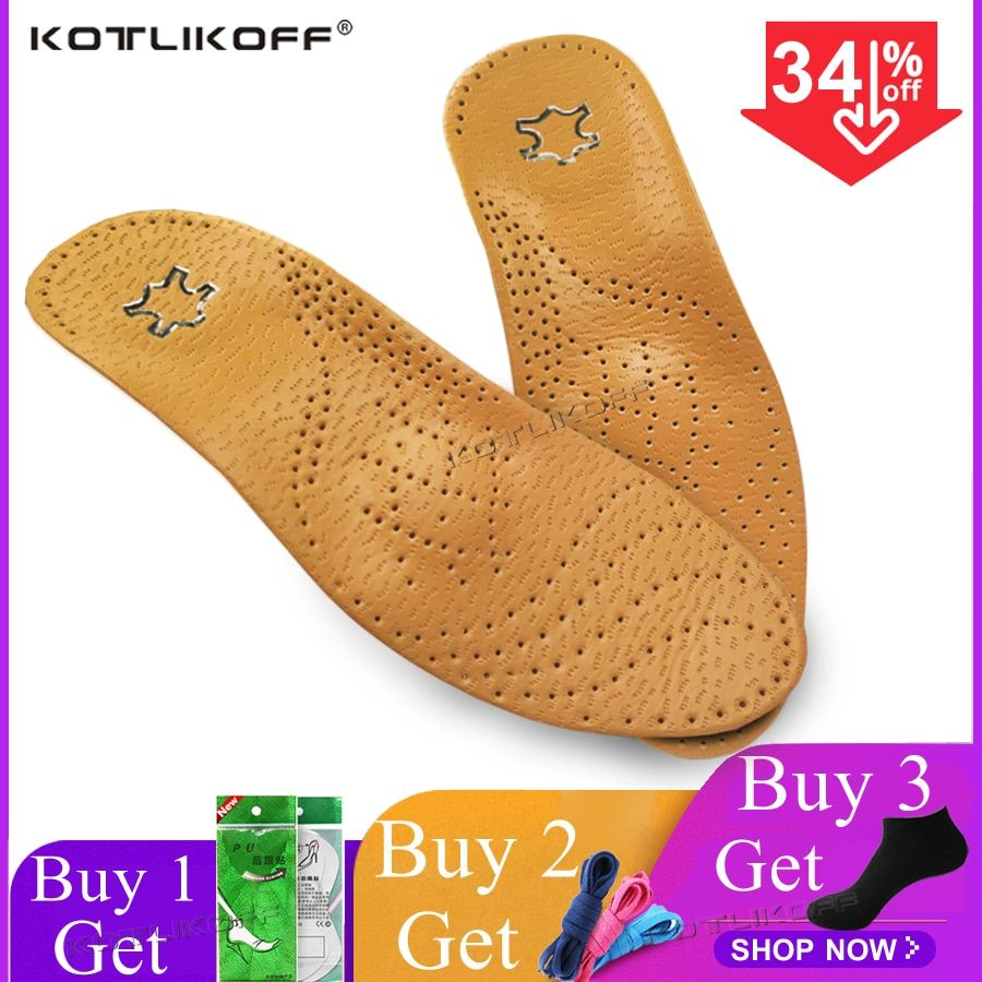 KOTLIKOFF High quality Leather orthotics Insole for Flat Foot Arch Support 25mm orthopedic Silicone Insoles for men and women