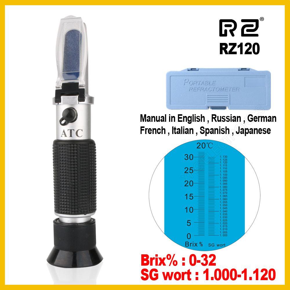 Réfractomètre RZ bière Brix moût sucre alcool 0 ~ 30% 1.000 ~ 1.120 SG outil de poche à gravité spécifique hydromètre RZ120 outil