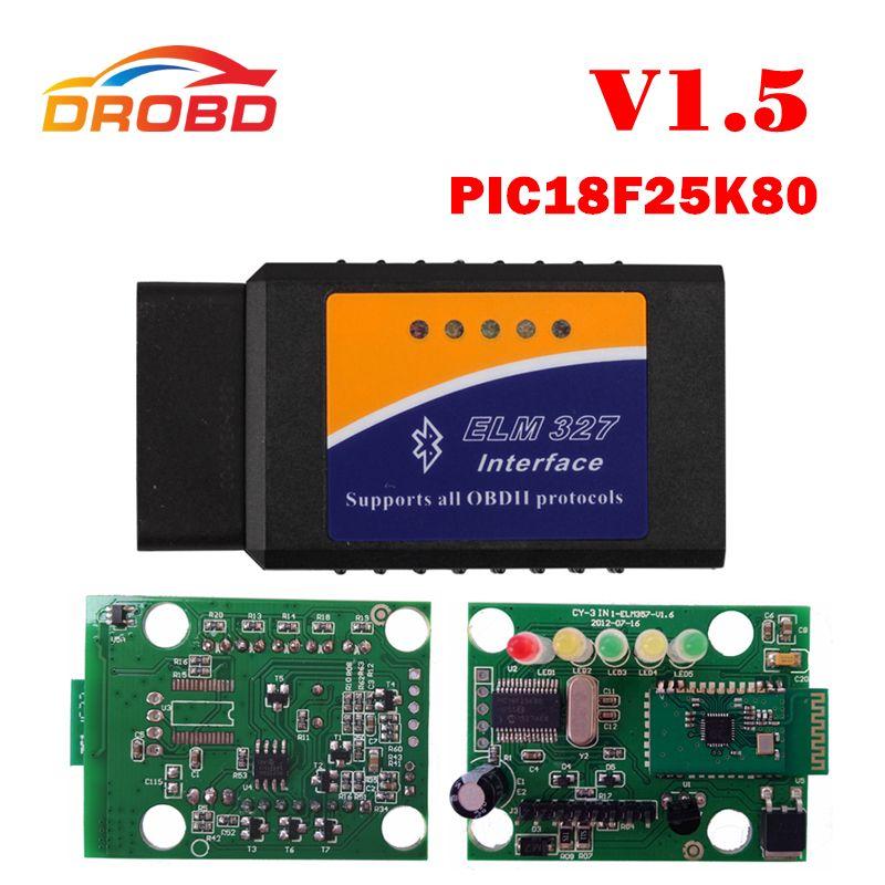Date matériel ELM327 V1.5 PIC18F25K80 puce ELM327 V 1.5 Bluetooth pour Android OBD2 Scanner diagnostic-outil ELM 327 OBD-II
