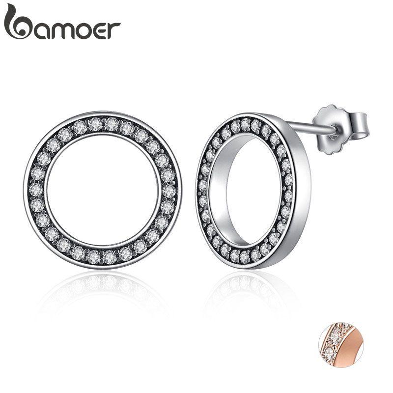 BAMOER Forever clair CZ 925 en argent Sterling cercle rond boucles d'oreilles avec CZ Bijoux cadeau Oorbellen Bijoux PAS437