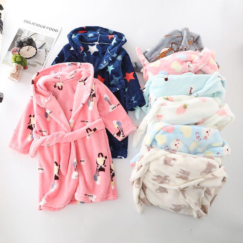 Winter Flannel Kids Sleepwear Robe Cute Cartoon Animals Print Hooded Girls Warm Bathrobe Children Pajamas For Boys 2-8 Years