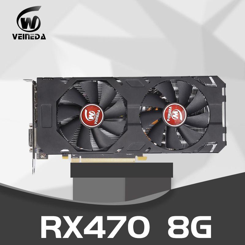 Video Karte Radeon RX 470 8GB 256Bit GDDR5 rx 470 PCI Express 3,0x16 BIN Desktop Spiel grafik karten nicht bergbau Kompatibel rx 580