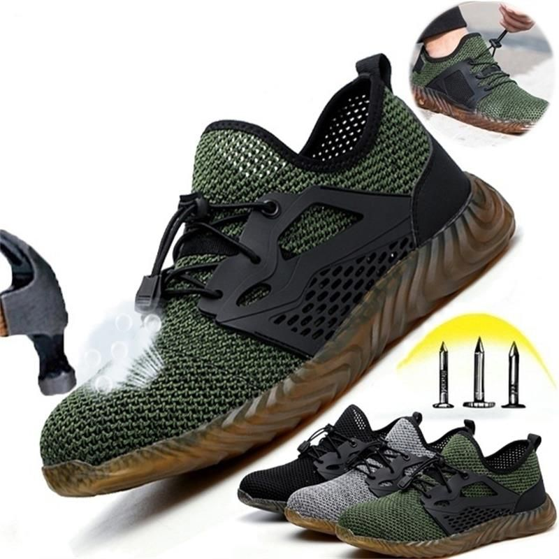 ECN Dropshipping Air Mesh  Shoes Men And Women Steel Toe Air Safety Boots Puncture-Proof Work Sneakers Breathable Shoes