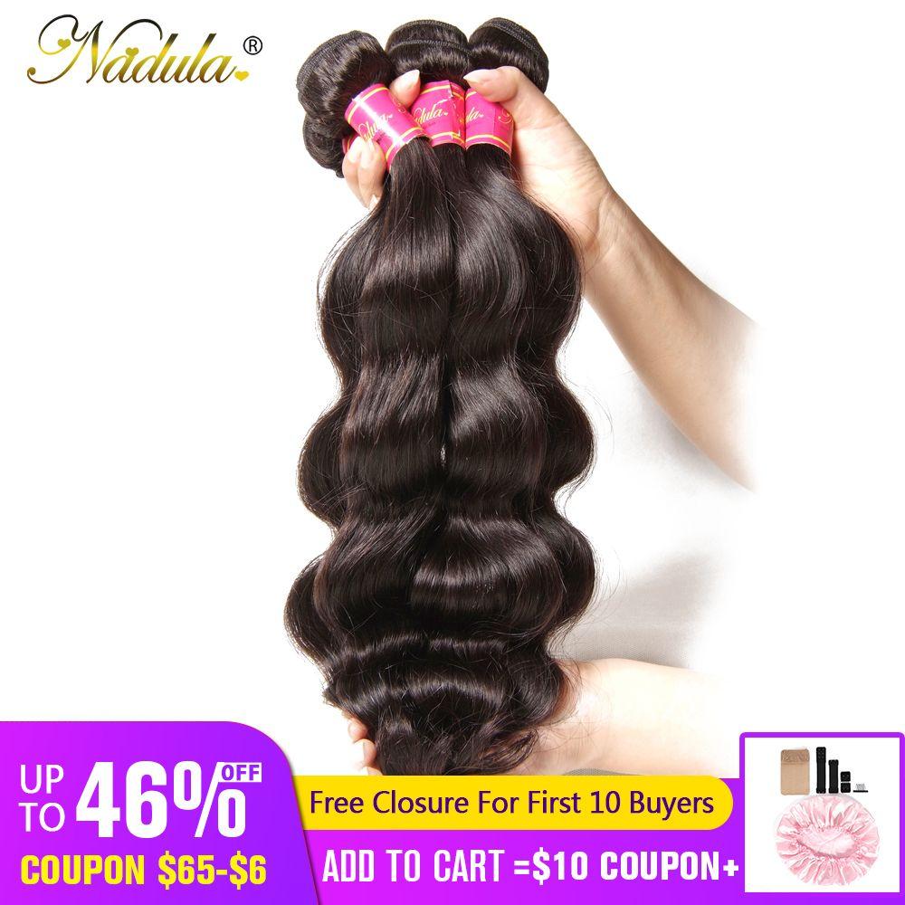Nadula cheveux brésiliens vague de corps cheveux humains tisse 3 pièces/4 pièces cheveux brésiliens vague de corps paquets Remy cheveux 8-30 pouces couleur naturelle