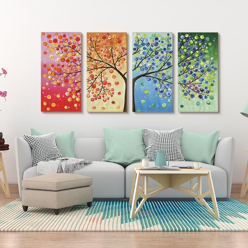 Mur Art toile peinture coloré feuille arbres abstrait décoratif photos affiche pulvérisation mur photos pour salon mur