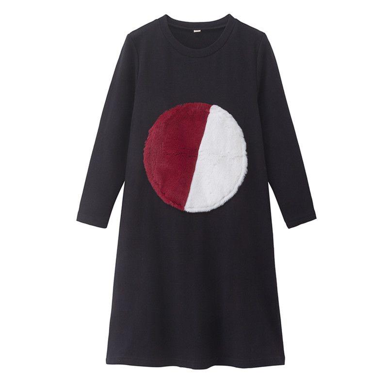 4 à 16 ans enfants & adolescentes filles géométrique fourrure cercle imprimé flare coton tenue décontractée enfants fille automne hiver robes noires