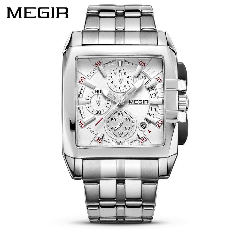 MEGIR Original luxe hommes montre en acier inoxydable hommes Quartz montres d'affaires grand cadran montres Relogio Masculino 2018